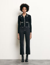 Straight-cut jeans with raw edges : Summer Collection color Black