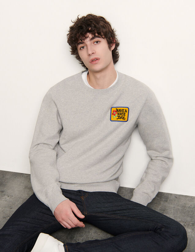 Sweater with embroidered patch : Sweatshirts color Mocked Grey