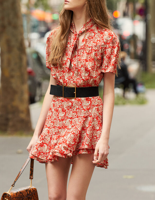 Short-sleeved printed dress : Dresses color Red
