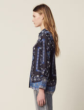 Floaty Printed Silk Shirt : Printed shirt color Blue