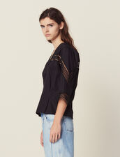 Cotton Top With 3/4 Sleeves : All Selection color Black