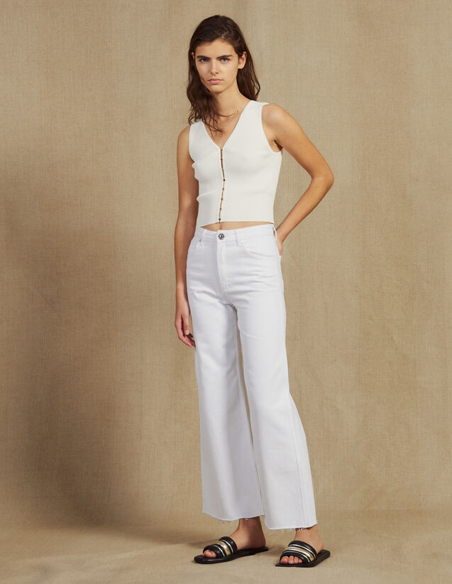 High-Waisted Flared Jeans : null color white