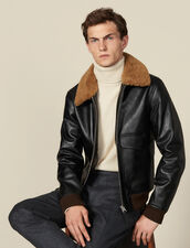 Leather flight jacket with sheepskin : LastChance-IT-H40 color Black
