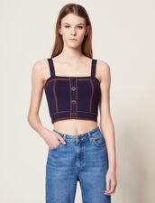 Knit Top With Large Straps : LastChance-FR-FSelection color Navy Blue