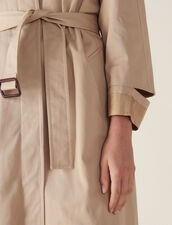 Long Trench-Style Coat : Coats color Beige