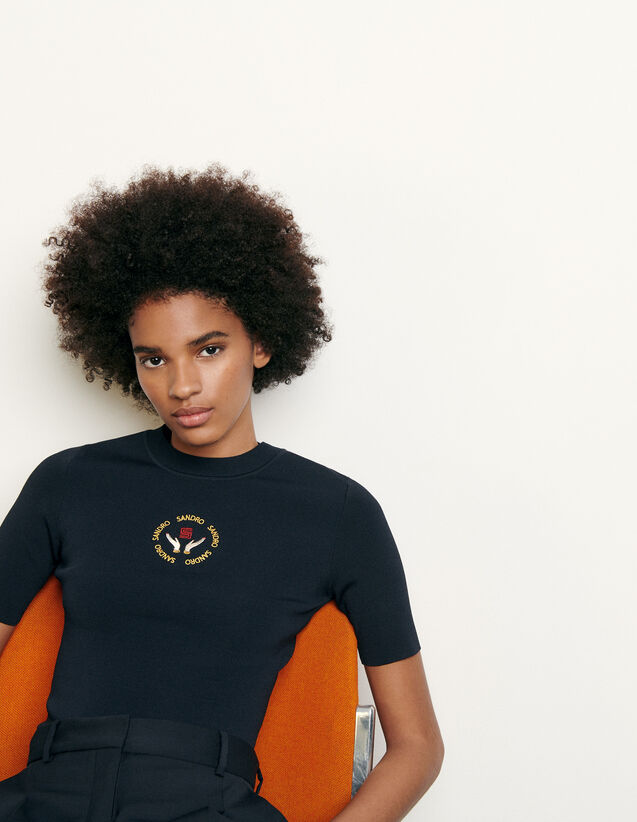 Knit top with embroidery : Sweaters & Cardigans color Navy Blue