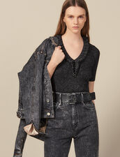 Short-Sleeved Lurex Knit Sweater : FBlackFriday-FR-FSelection-30 color Gun Metal