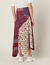 Long Patchwork Printed Skirt : null color Bordeaux
