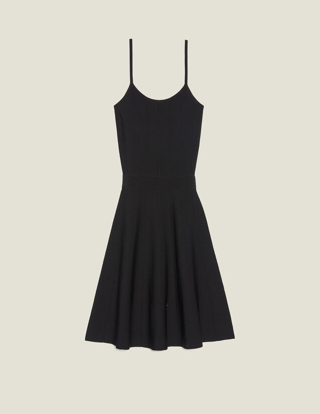 Short Knit Dress With Straps : null color Black