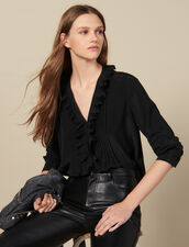 Silk top with pleat edged neckline : Tops & Shirts color Black
