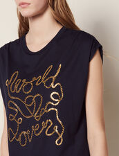 Cotton T-Shirt With Lettering : All Selection color Navy Blue