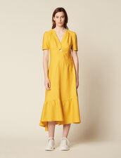 Long Dress Trimmed With A Covered Ring : null color Yellow