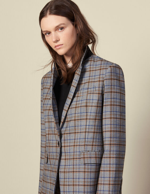 Checked wool blazer : Blazers & Jackets color Grey