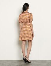 Short printed dress : Dresses color Nude