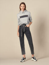 Snow Jeans With Studded Belt : Jeans color Black