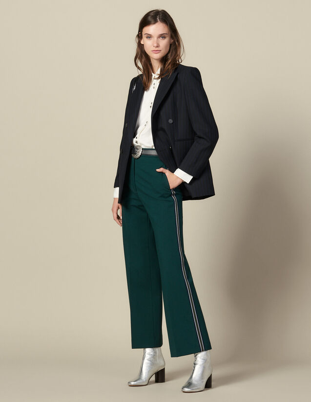 Wide-leg trousers with tricolour trim : Pants color verde