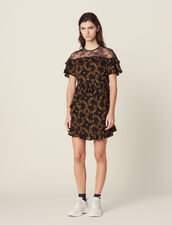 Short Printed Dress With Lace : All Selection color Black