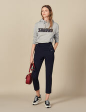 Tapered trousers with fall front : Pants color Navy Blue