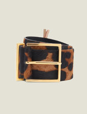 Printed Pony Effect Leather Belt : All Winter collection color Leopard