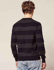 Cotton Sweater With Fine Stripes : Sélection Last Chance color Navy Blue