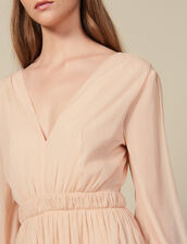 Long Pleated Dress With Long Sleeves : Dresses color Nude
