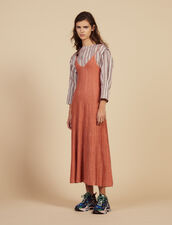Knitted Long Dress With Narrow Straps : All Selection color Pêche