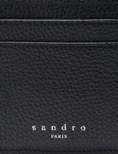 Grained leather card holder : Card Holders & Wallets color Black