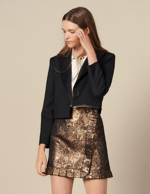 Wrapover Effect Brocade Skirt : Skirts & Shorts color Gold