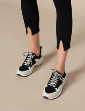 Knit Leggings With Small Slits : Pants color Black