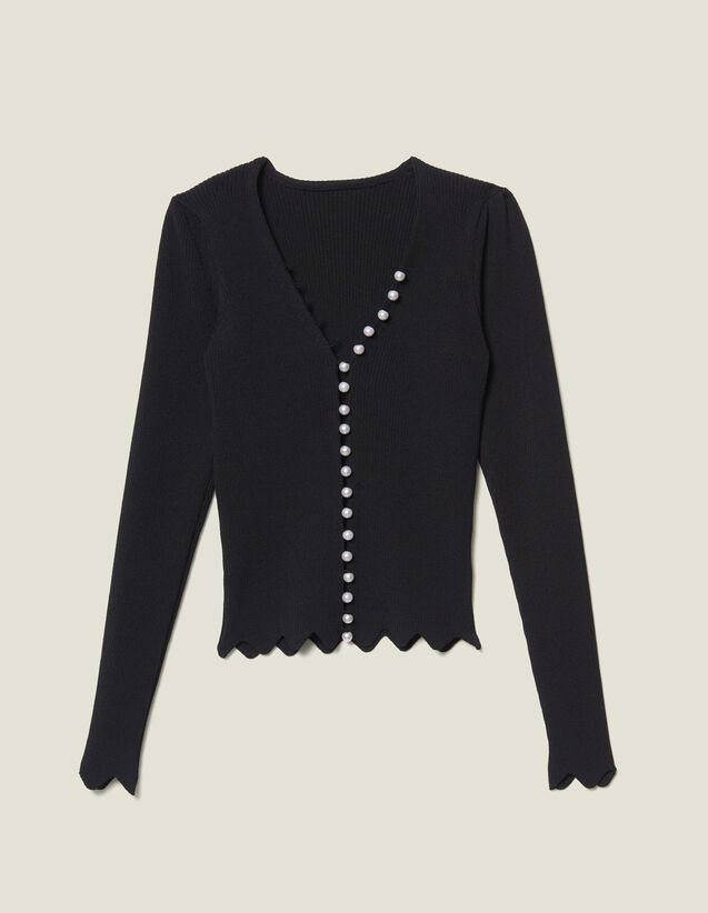 Cropped Cardigan Trimmed With Beads : Sweaters & Cardigans color Black