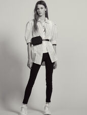 Striped Shirt With Lace Detail : Printed shirt color Red