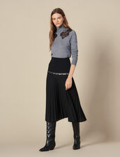 Long Pleated Wrapover Skirt : LastChance-ES-F40 color Black