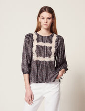Printed Blouse With 3/4 Length Sleeves : Printed shirt color Black