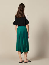 Wraparound Pleated Asymmetric Skirt : All Selection color Green