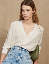 Low-Cut Silk Shirt : null color Ecru