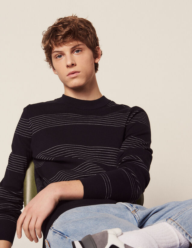 Cotton Sweater With Fine Stripes : Sweaters & Cardigans color Navy Blue