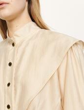 Short shirt with mandarin collar : Tops & Shirts color Beige