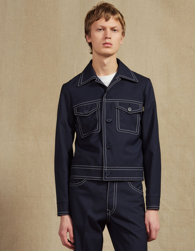 Jacket With Contrasting Topstitching : All Selection color Navy Blue