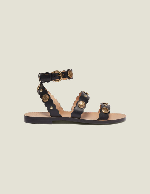 Flat Sandals With Decorative Rivets : All Shoes color Black
