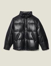 Oversized Leather Padded Jacket : Coats color Black