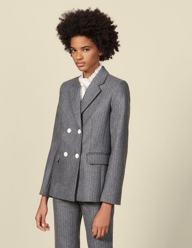 Flannel tailored jacket : Blazers & Jackets color Grey