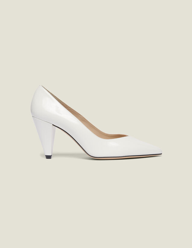 Glazed Leather Heeled Shoes : All Shoes color white
