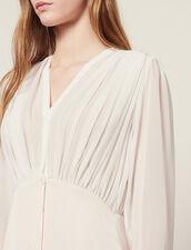 Long Asymmetric Dual Fabric Dress : LastChance-FR-FSelection color Light pink