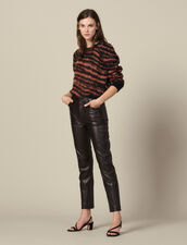 Straight leather trousers with seaming : FBlackFriday-FR-FSelection-30 color Brown