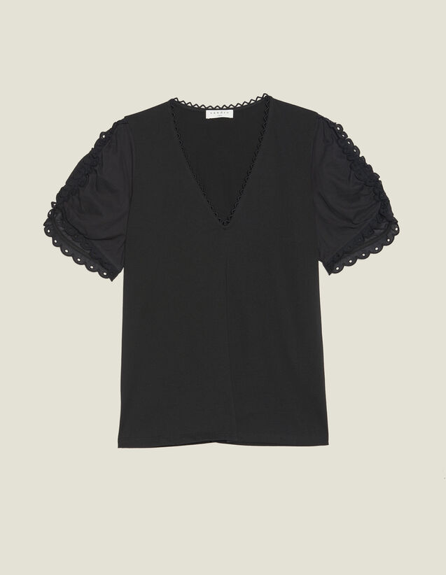 T-Shirt With Short Puff Sleeves : All Selection color Black