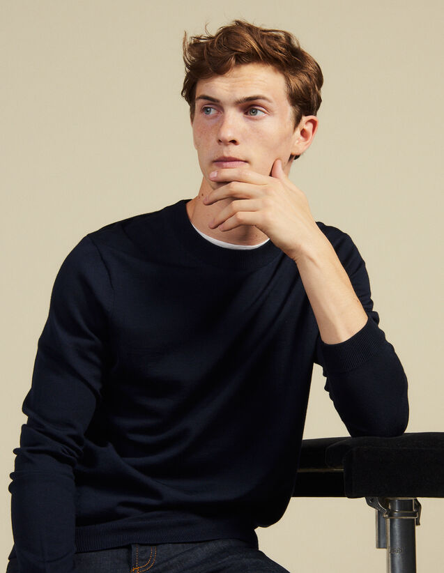 Fine Knit Wool Sweater : Sweaters & Cardigans color Navy Blue