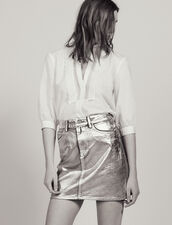 Coated Denim Skirt With Silver Effect : All Selection color Silver