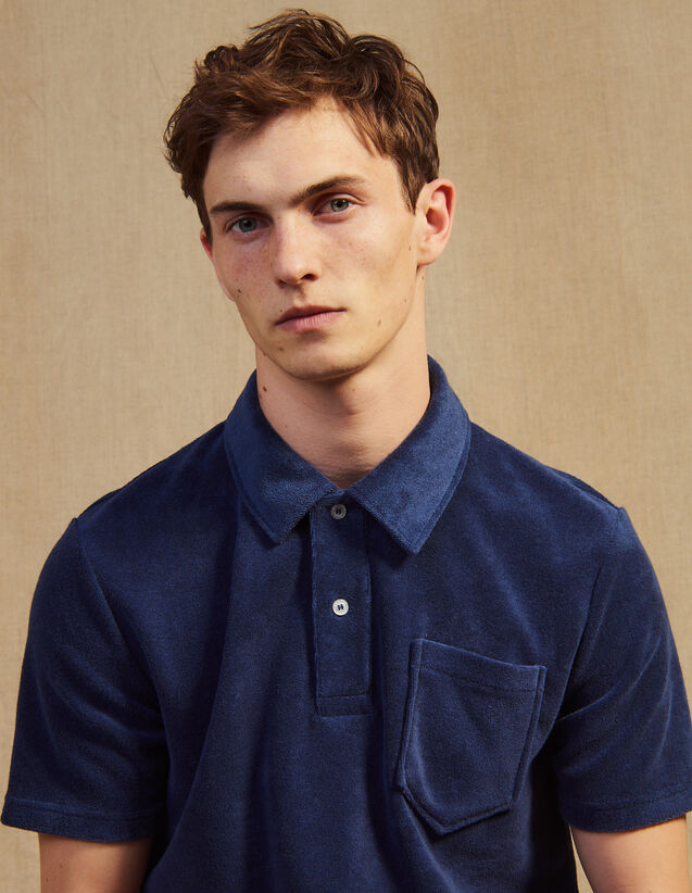 Terrycloth Polo Shirt : T-shirts & Polo shirts color Navy Blue