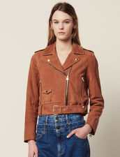 Suede Perfecto Jacket : SOLDES-RE-F-30 color Terracotta