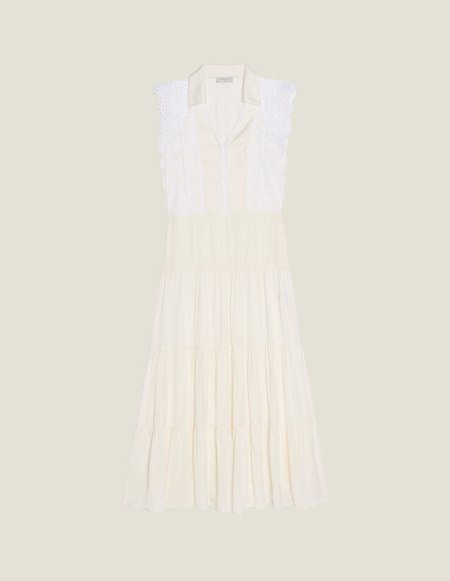 Midi Dress Decorated With Lace Trims : null color Ecru